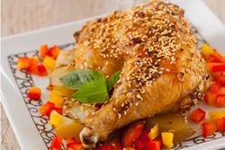 芝麻烤雞腿-中華料理