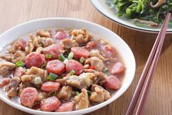 香腸蒸雞+燜莧菜 -中華料理