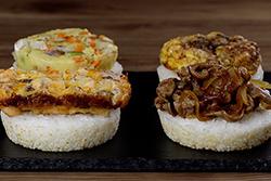 用早餐盤做米漢堡∼-中華料理