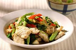 蒜苗炒鯊魚片-中華料理