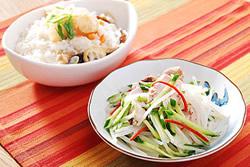 電鍋一次做兩菜(涼拌雞絲+蔬菜粥)-中華料理