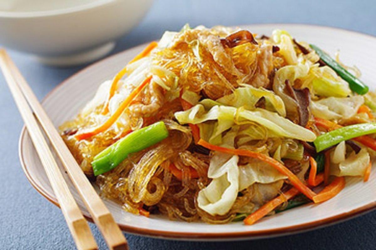 肉絲炒冬粉-中華料理