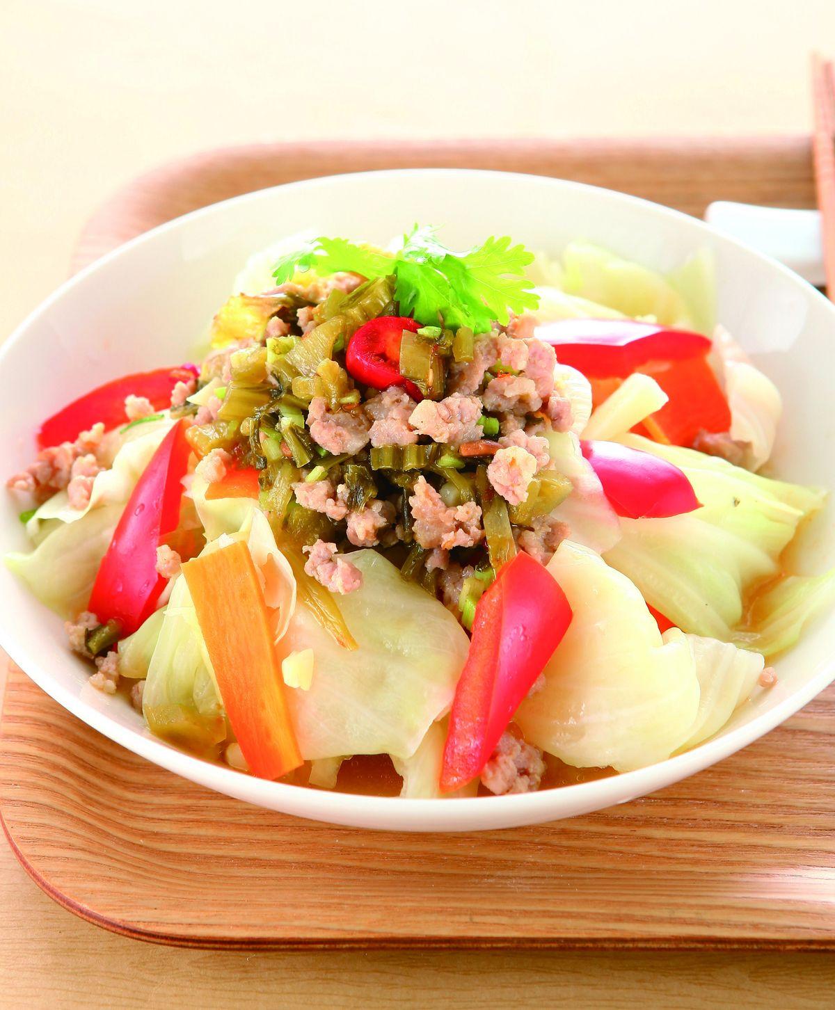 食譜:肉末拌高麗菜