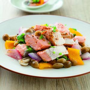 檸香鮭魚拌香菇