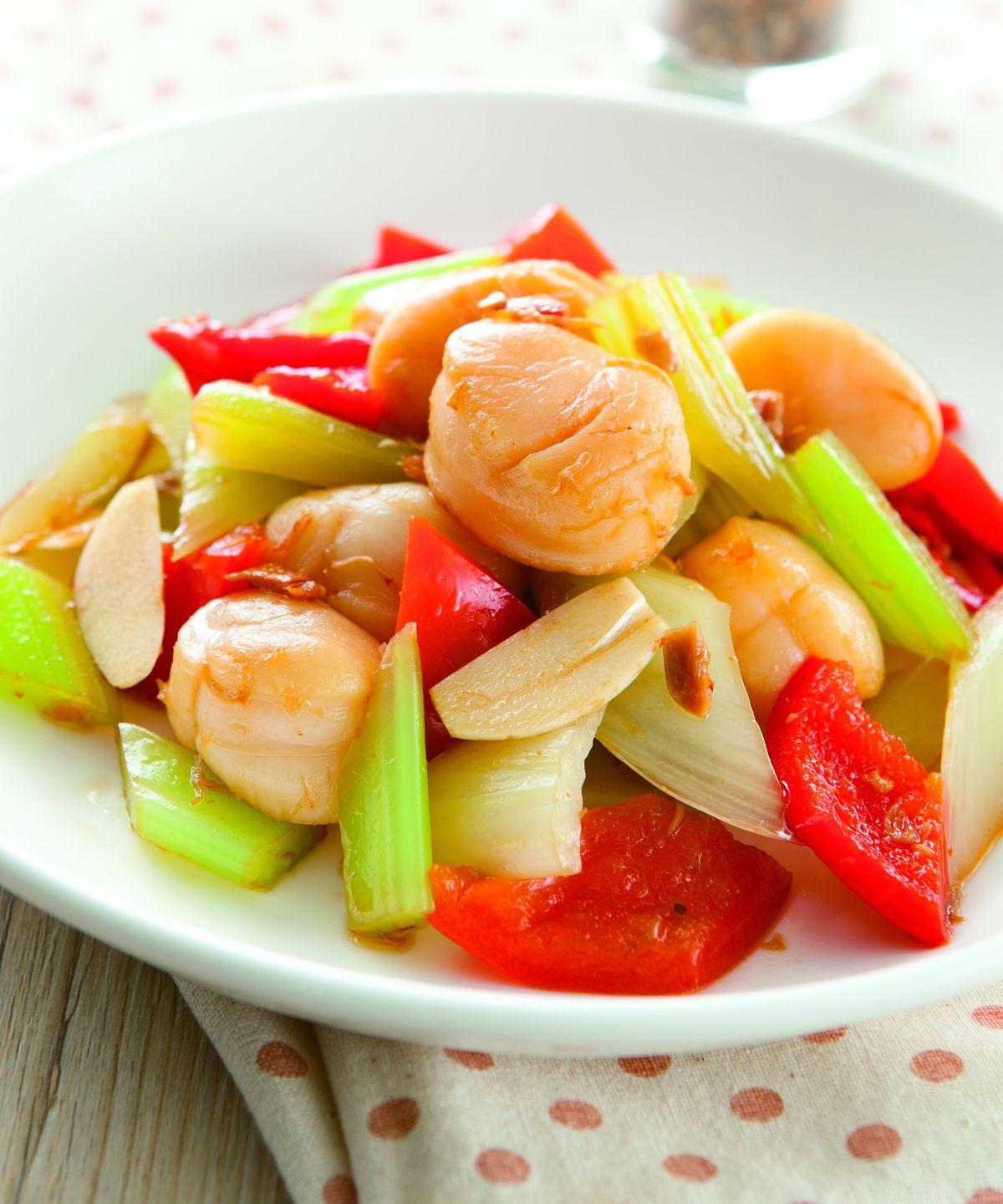 食譜:西芹拌干貝