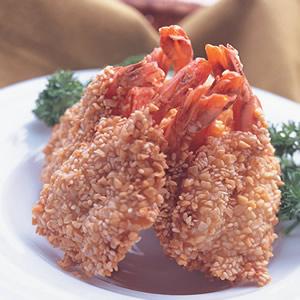 芝麻杏果炸蝦