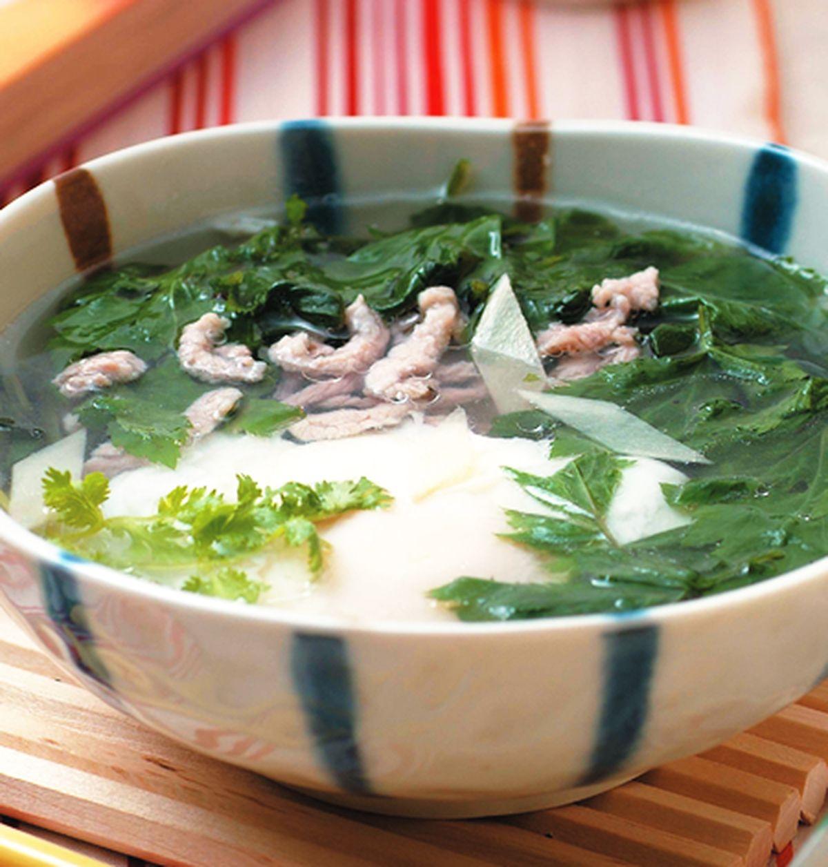 食譜:角菜肉絲蛋包湯