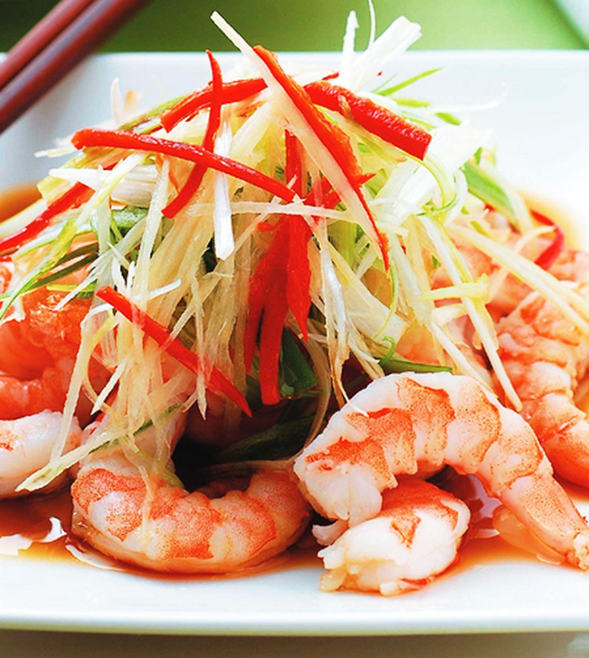 食譜:蔥油蒸蝦