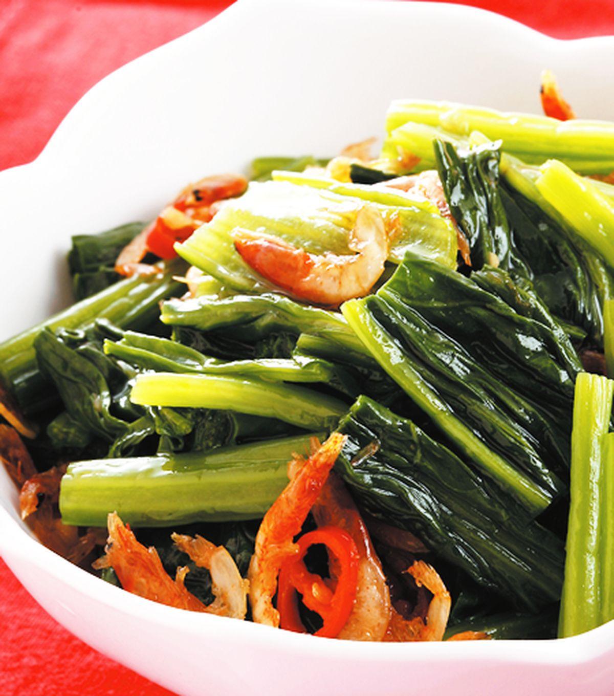 食譜:櫻花蝦拌菠菜