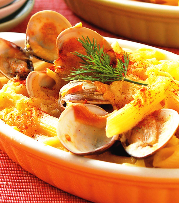 食譜:焗奶油蛤蜊筆管麵
