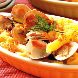 焗奶油蛤蜊筆管麵