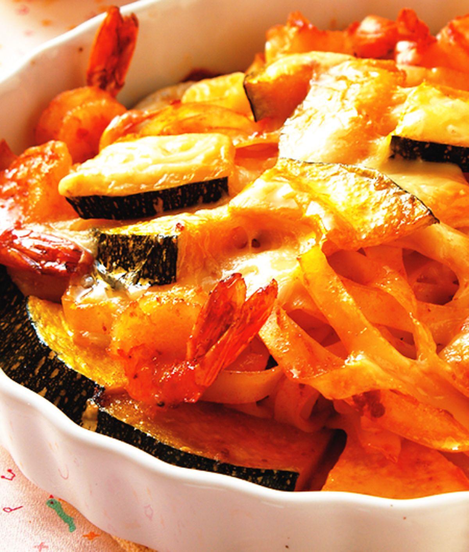 食譜:焗烤南瓜鮮蝦寬麵