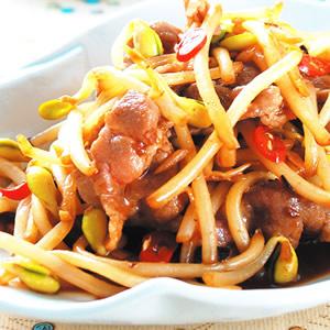 黃豆芽炒薄肉片