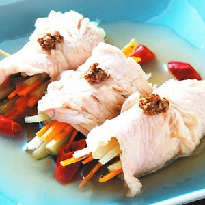時蔬醋漬肉片捲