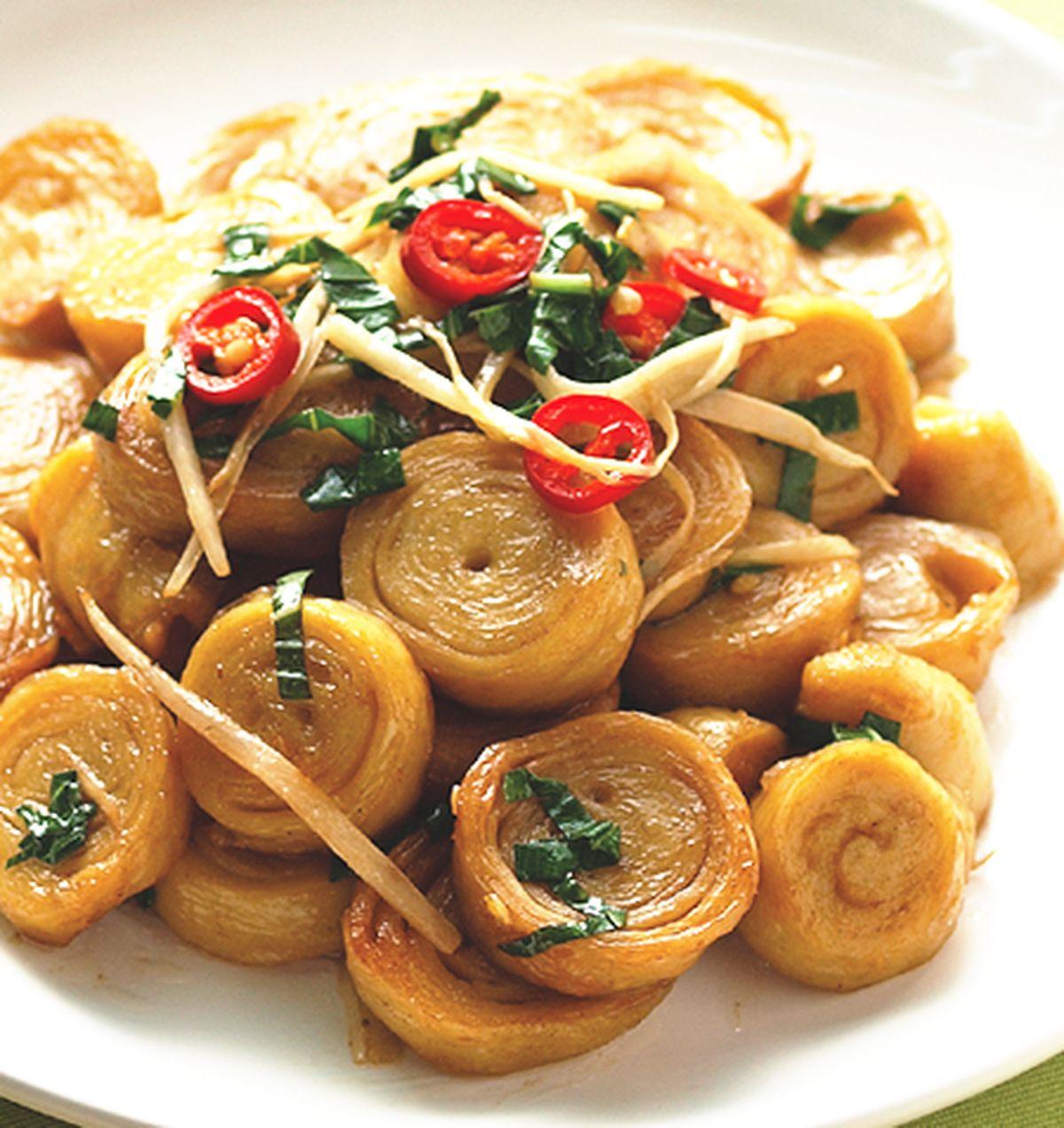 食譜:薑絲炒麵腸(1)