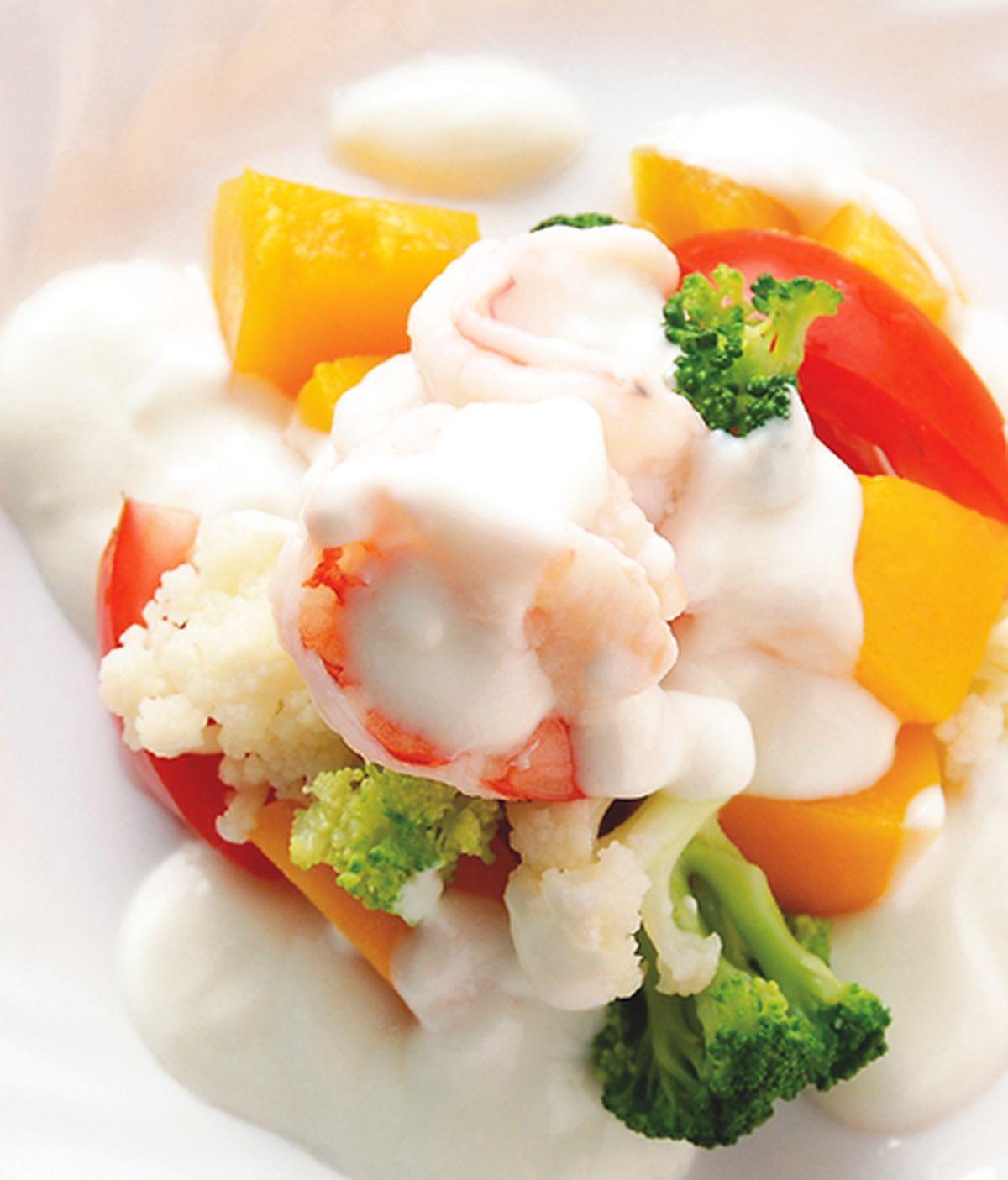 食譜:優格水蜜桃鮮蝦