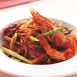 茄汁蘆筍鮮蝦干貝義大利麵