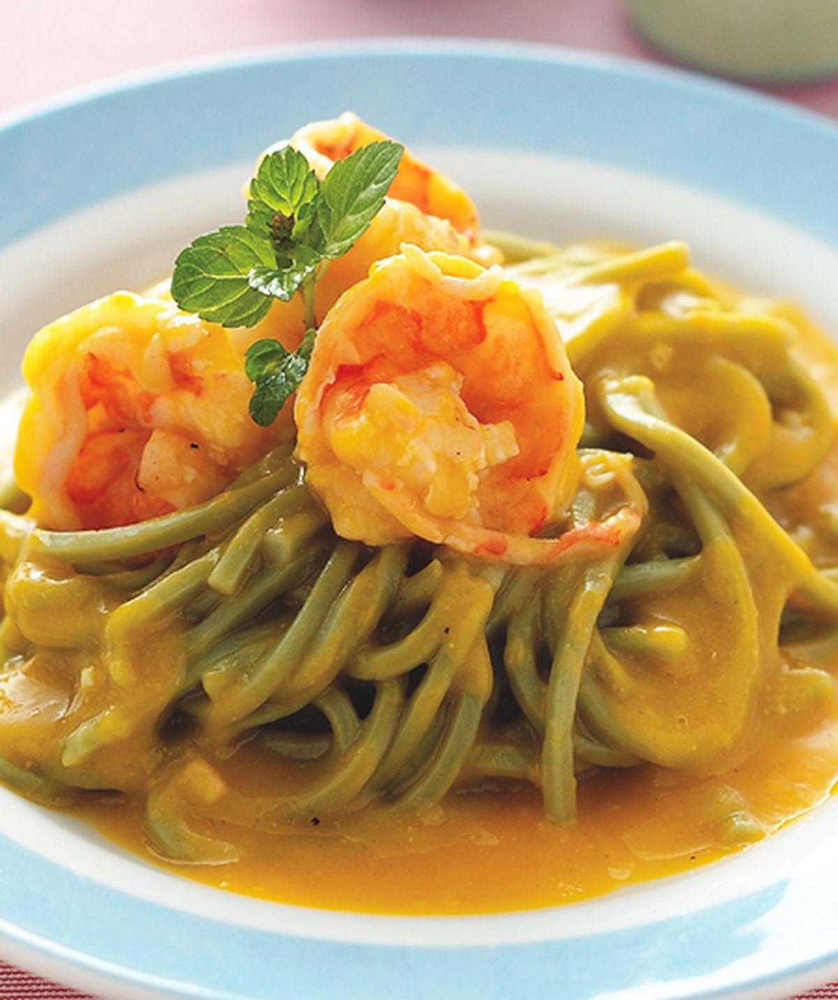 食譜:南瓜鮮蝦麵