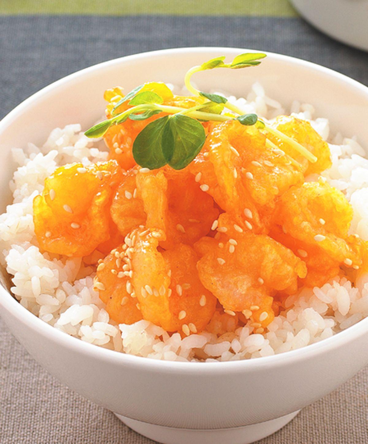 食譜:橙汁蝦球蓋飯