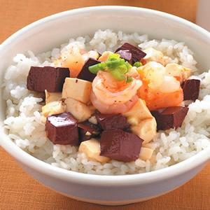 紅白豆腐蝦仁蓋飯