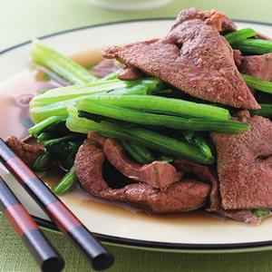 菠菜炒豬肝(1)