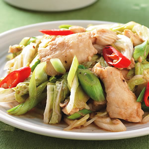 青蒜炒魚片