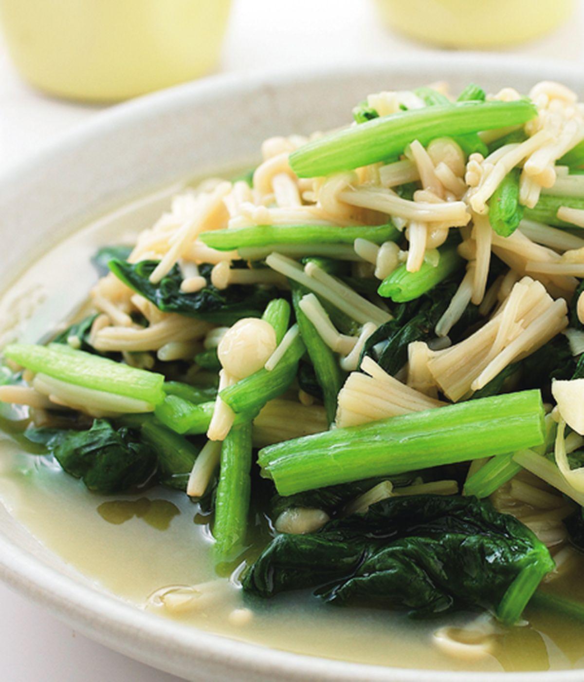 食譜:菠菜炒金針菇