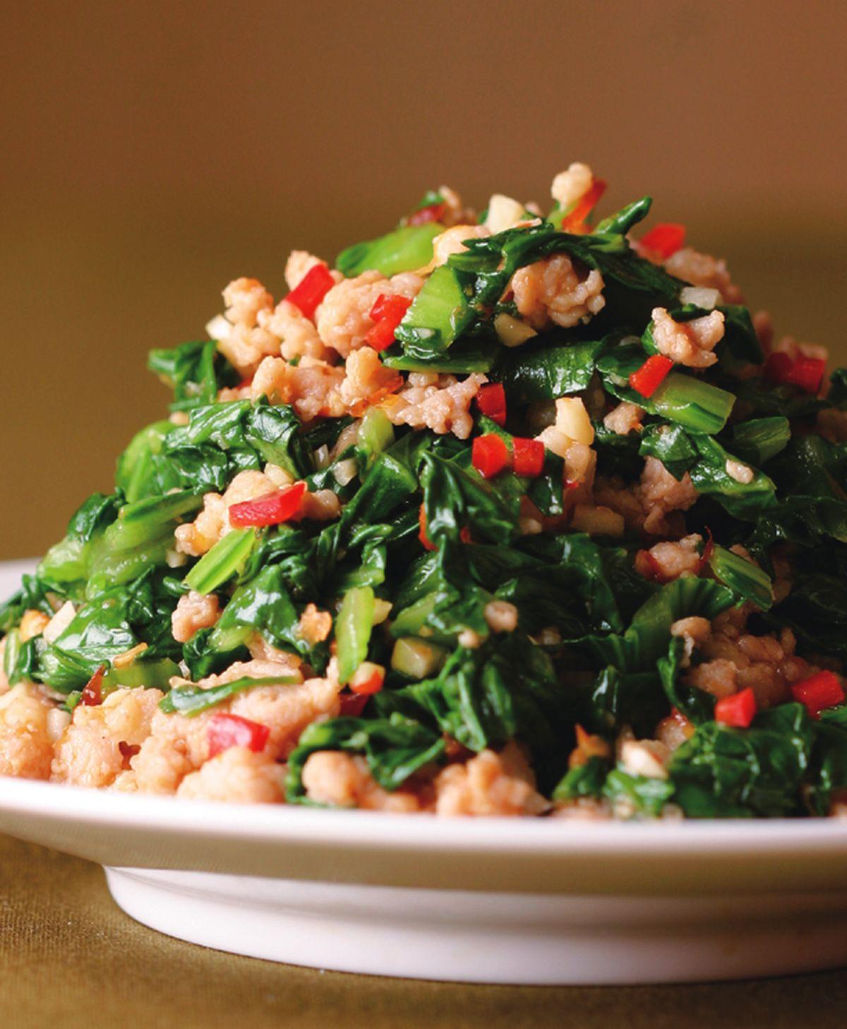 食譜:青江菜炒肉末