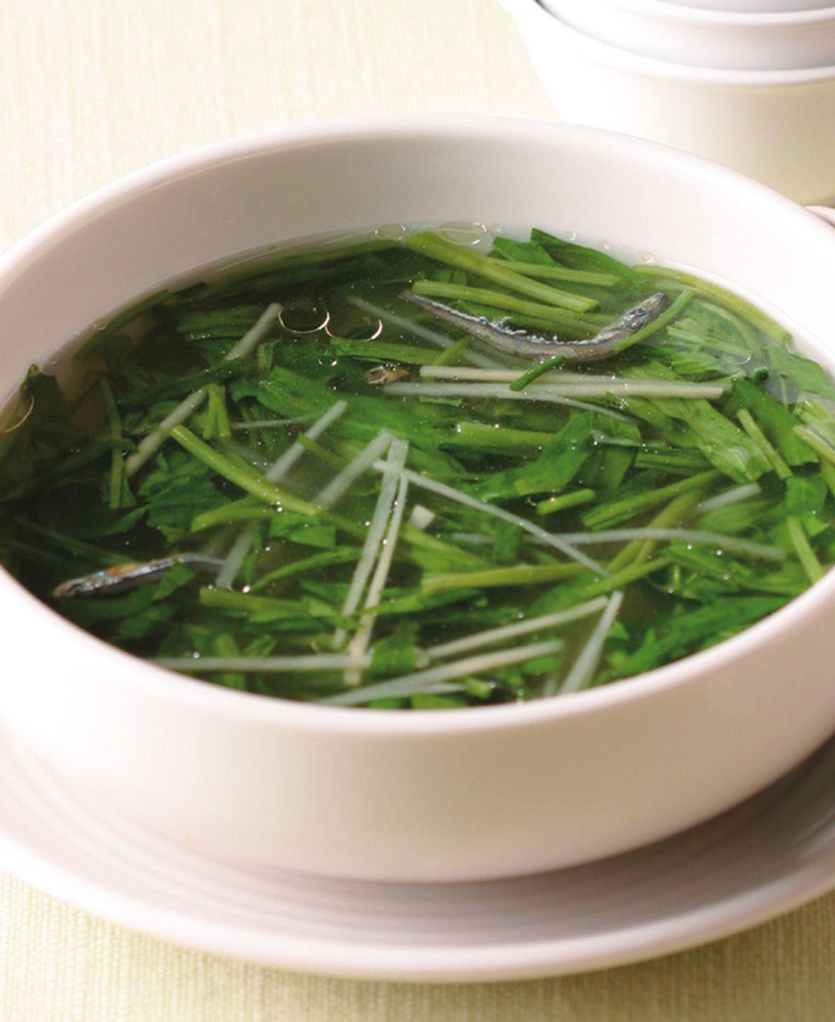 食譜:空心菜葉魚乾湯