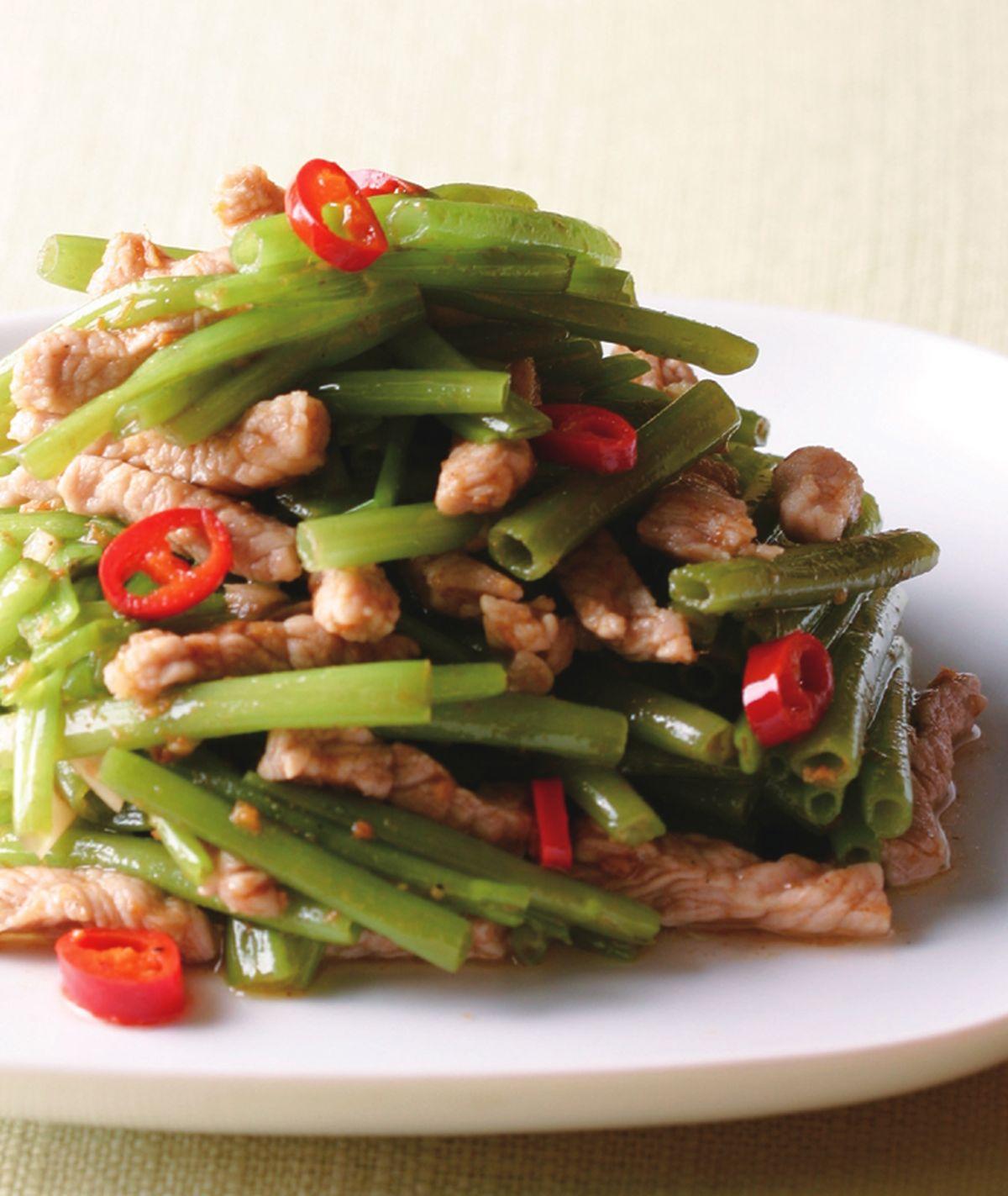 食譜:空心菜梗炒肉絲