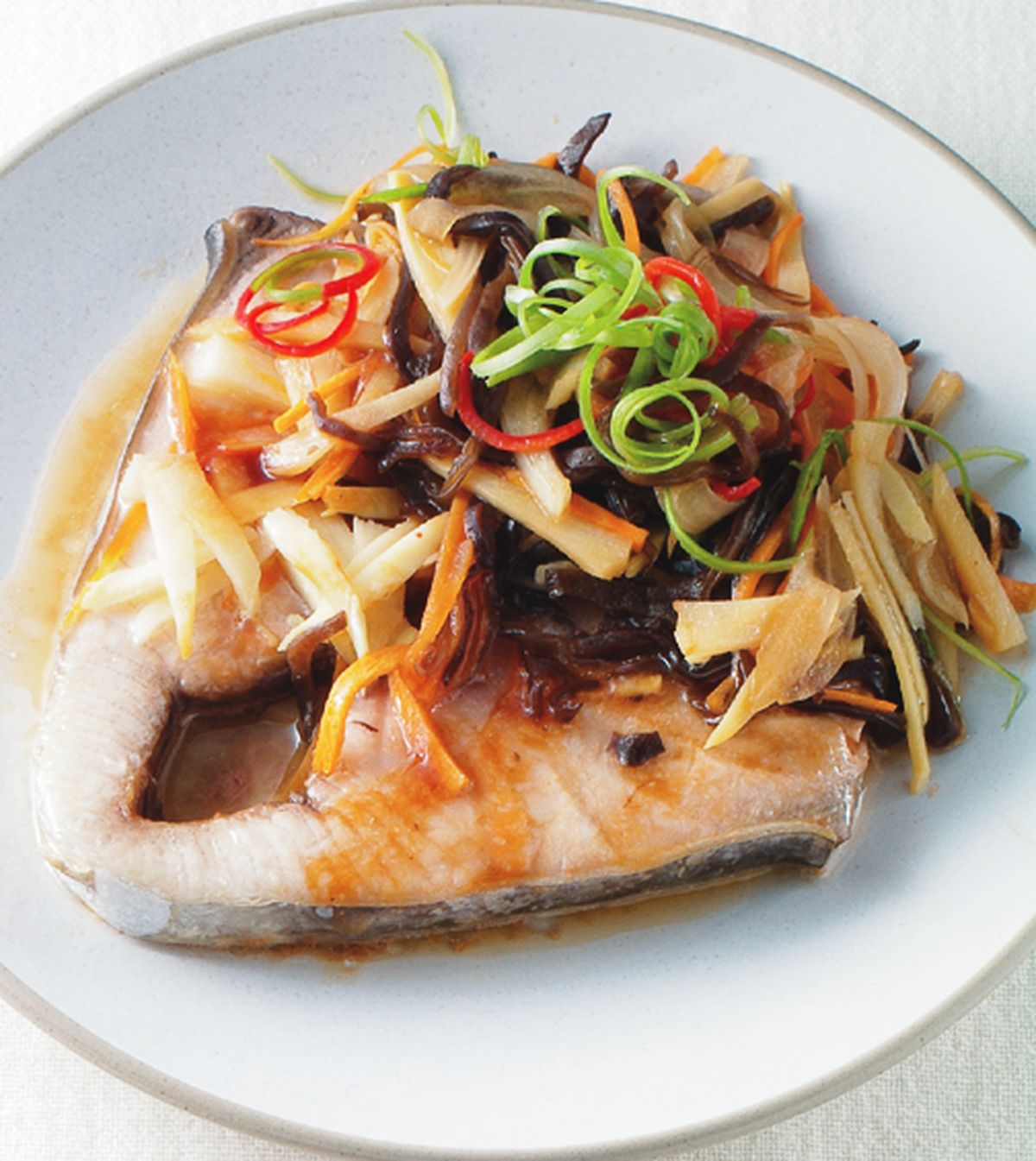 食譜:五柳蒸魚