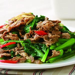 油菜炒羊肉片
