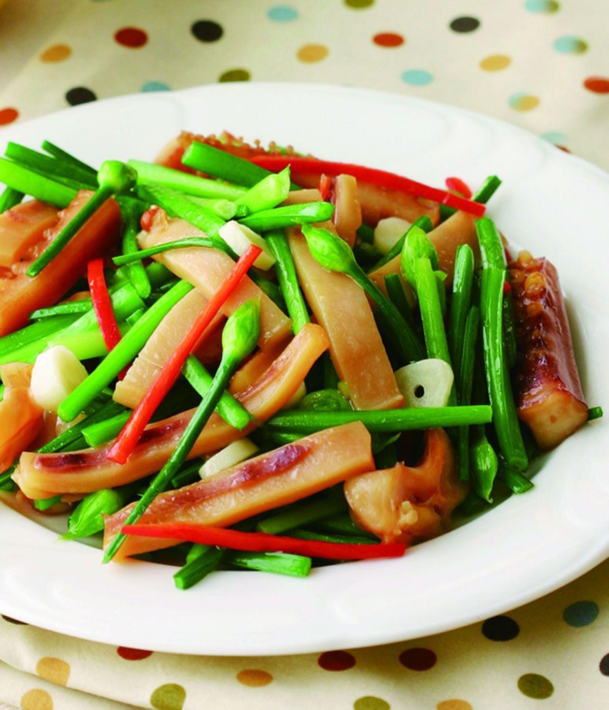 食譜:韭菜花炒魷魚