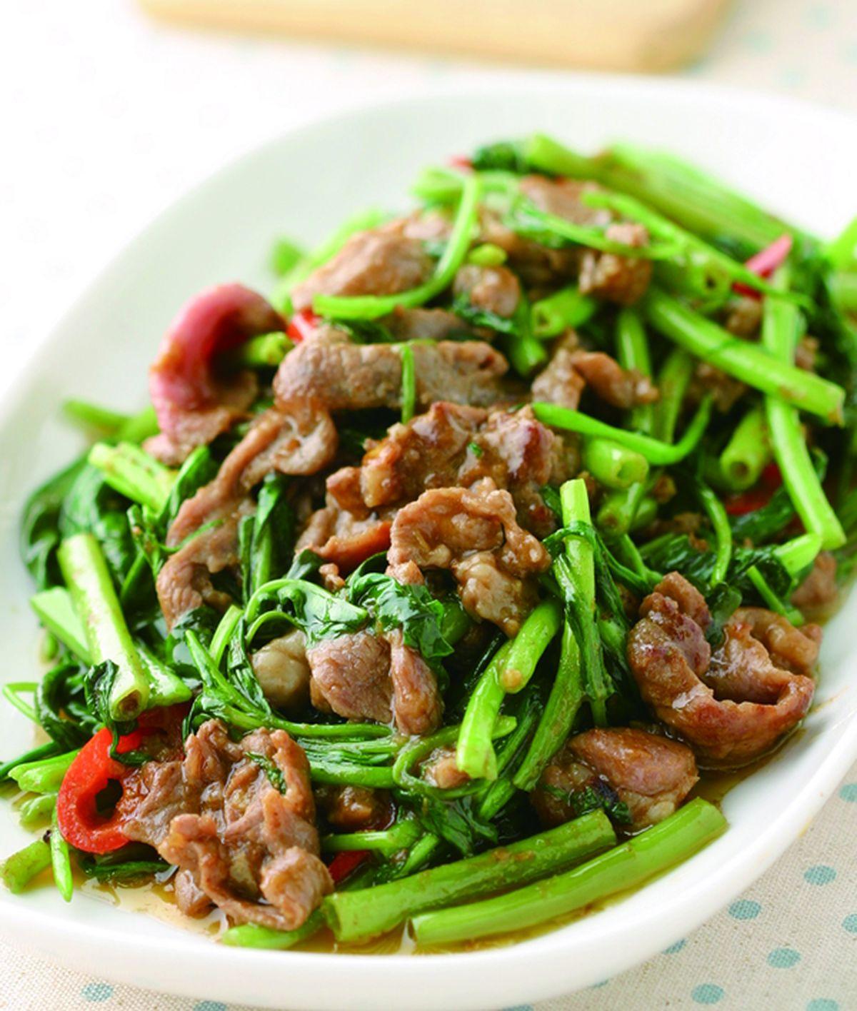 食譜:沙茶羊肉炒空心菜(3)