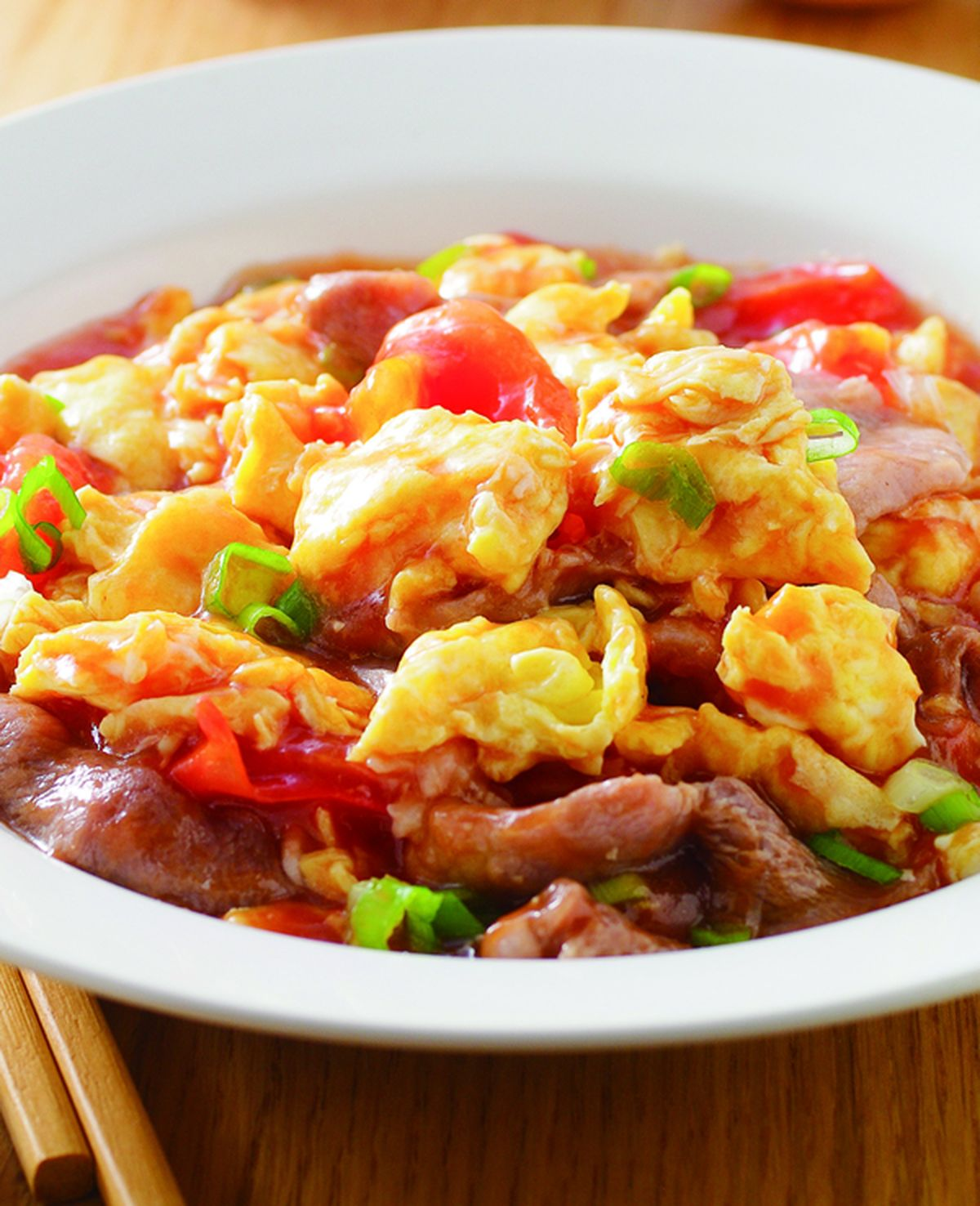 食譜:蕃茄肉片炒蛋