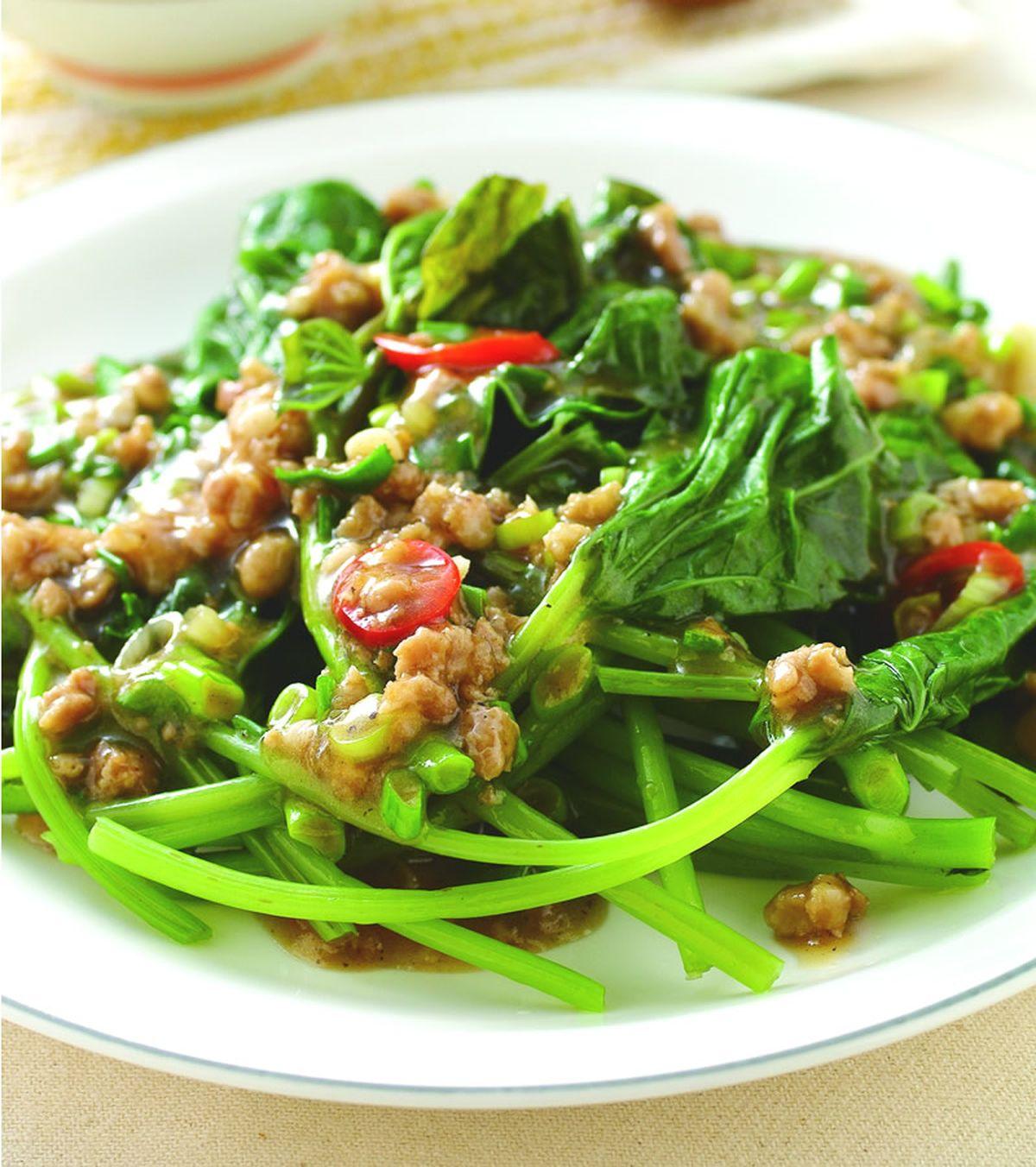 食譜:香蔥肉燥地瓜葉