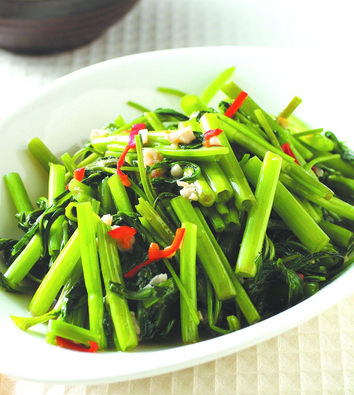 食譜:蝦醬空心菜(4)