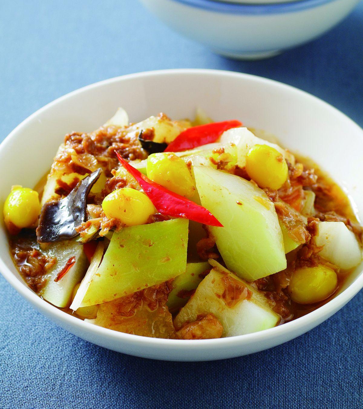 食譜:蔥油肉醬瓠瓜