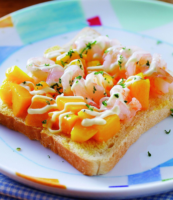 食譜:鮮蝦芒果土司