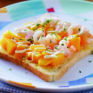 鮮蝦芒果土司