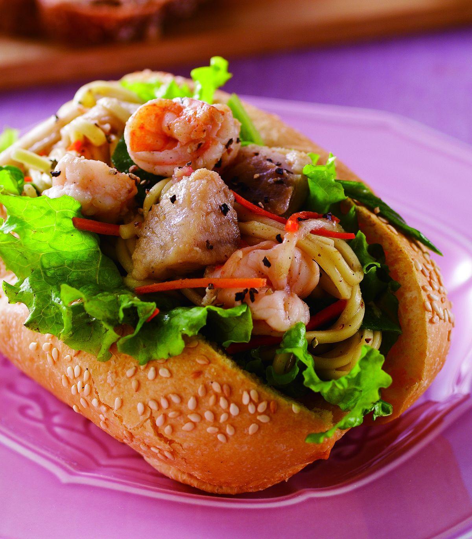 食譜:海鮮炒麵三明治