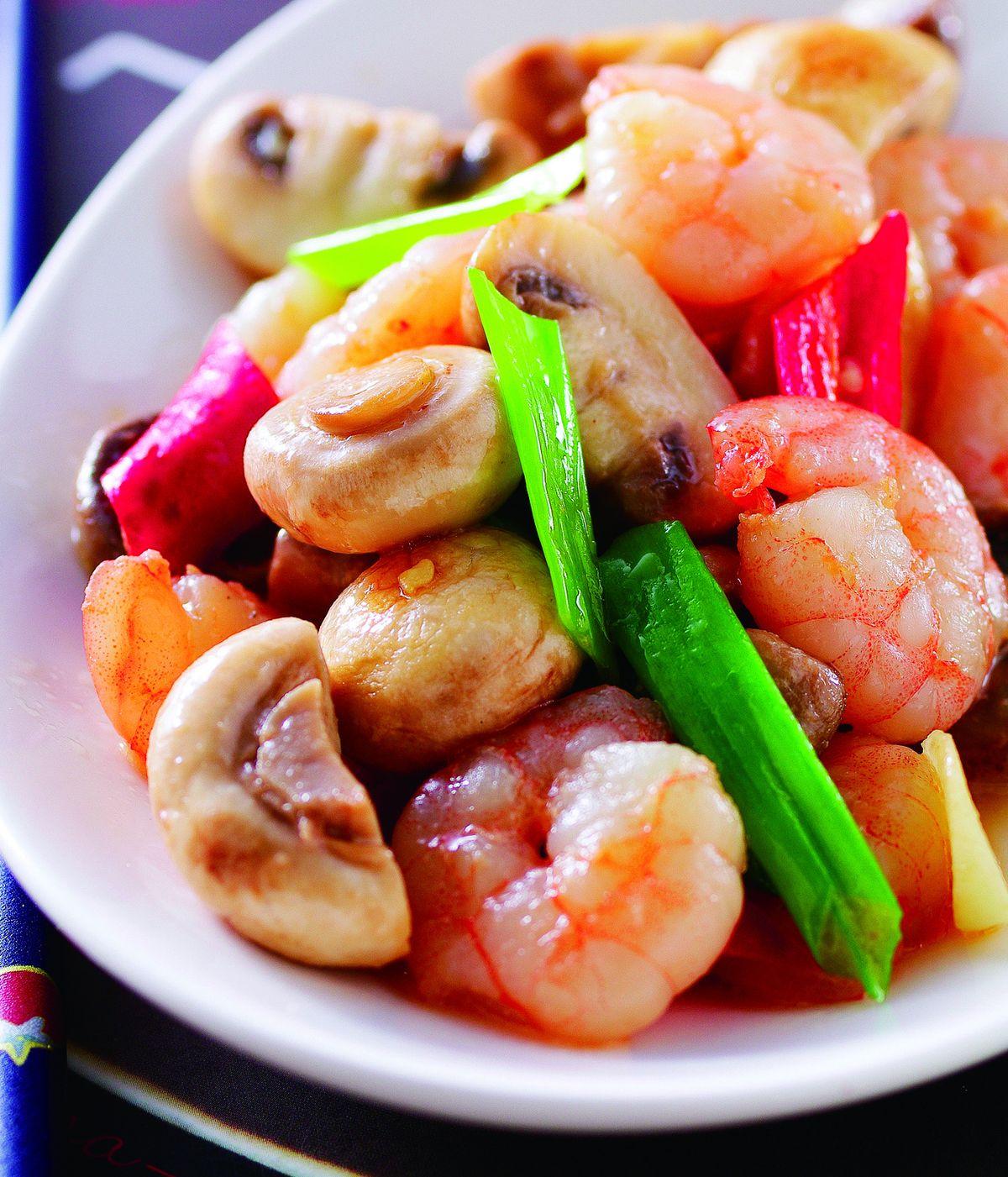 食譜:蘑菇炒蝦仁