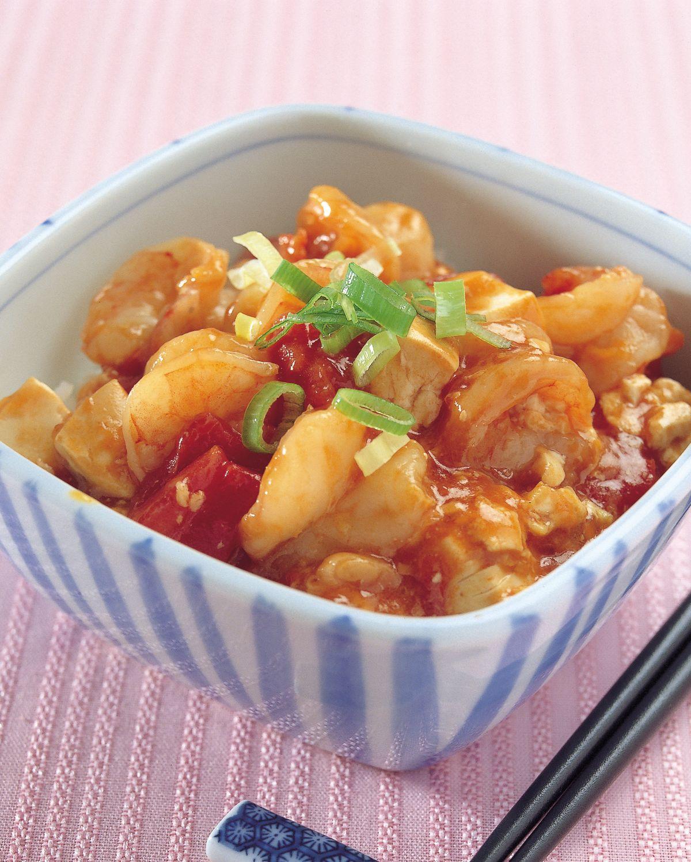 食譜:茄汁蝦仁豆腐丼