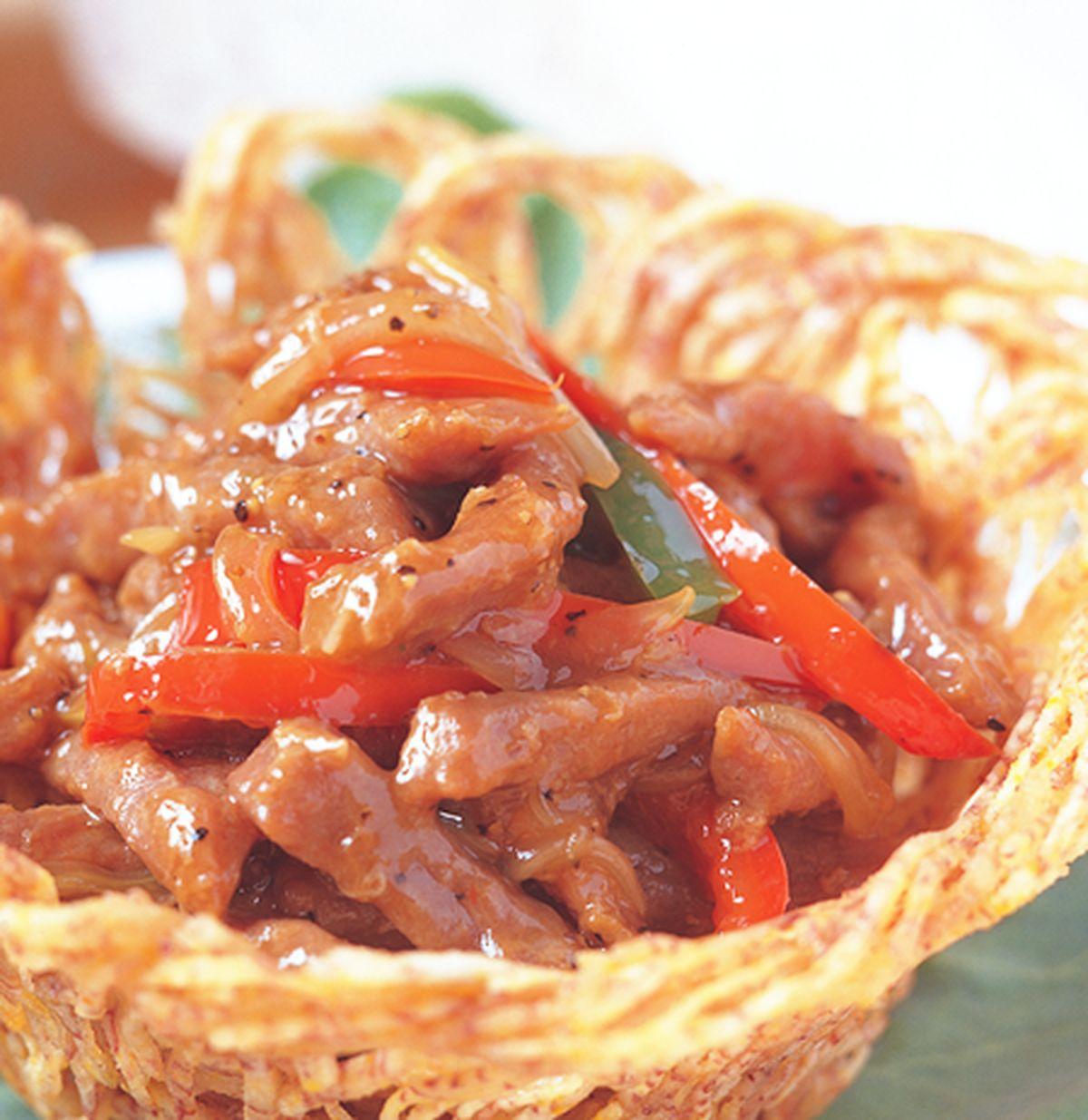 食譜:鵲巢黑椒牛柳
