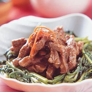沙茶牛柳炒空心菜