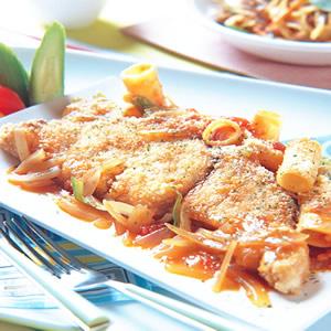 鮮魚洋蔥水管麵