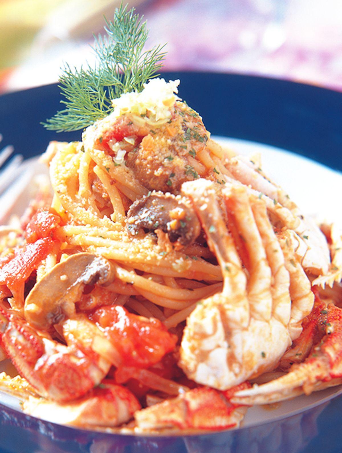 食譜:蟹腳洋菇圓麵