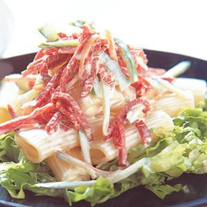 翠綠火腿沙拉水管麵