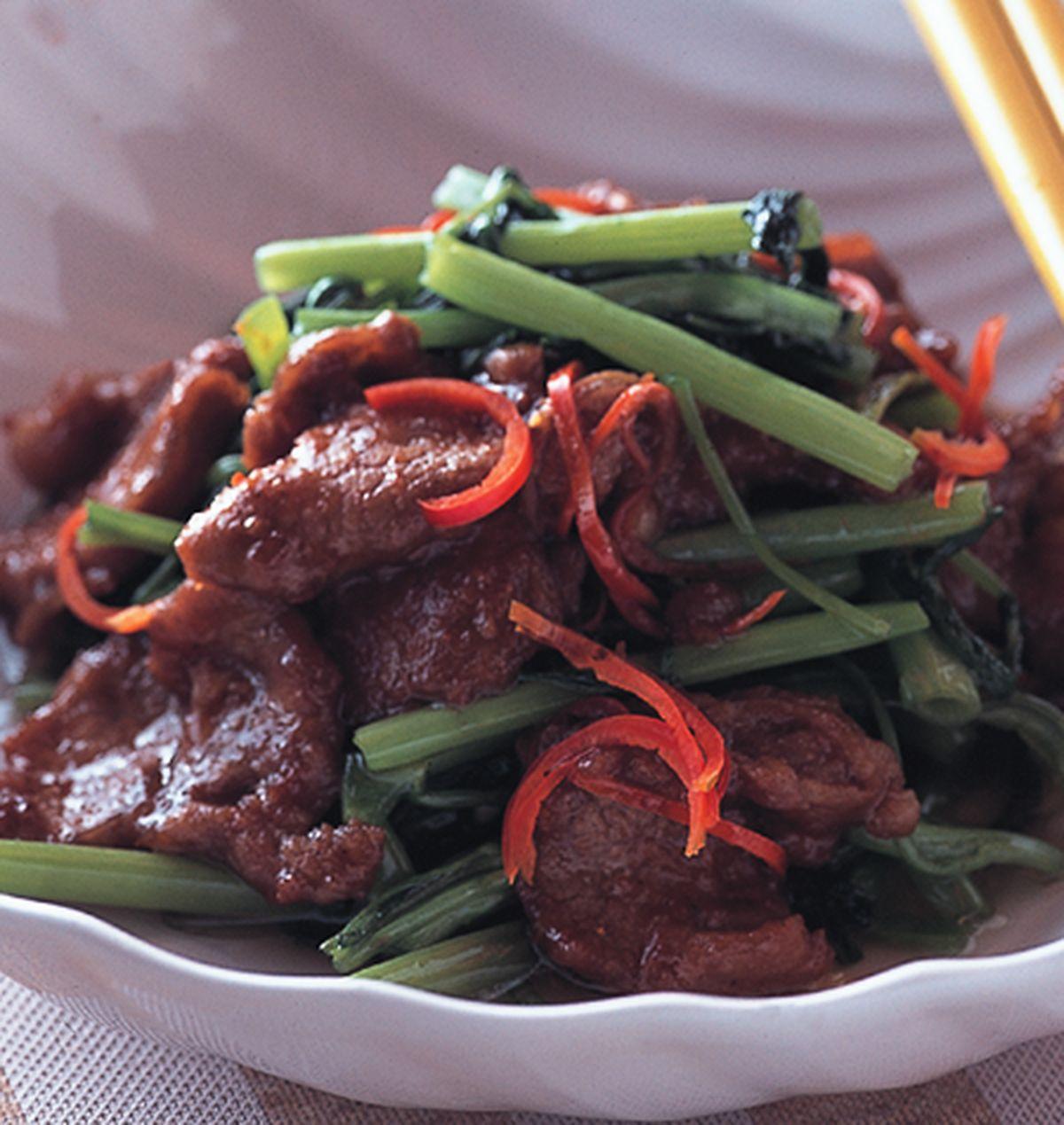 食譜:沙茶羊肉炒空心菜