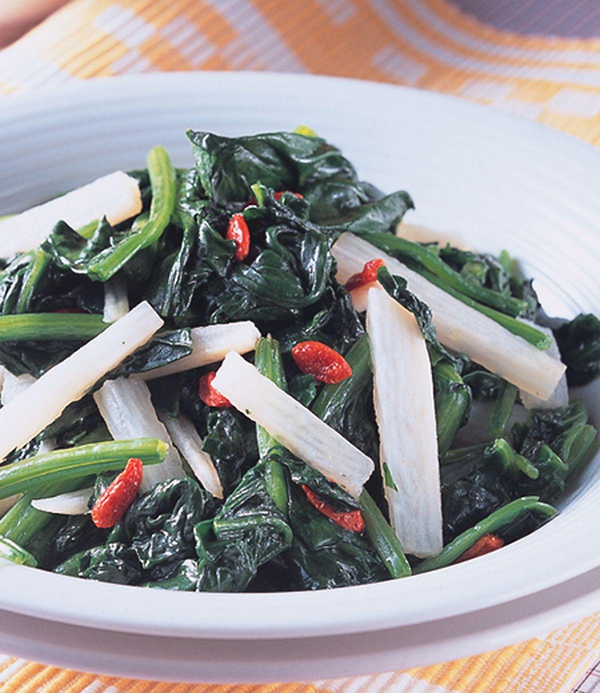 食譜:淮山枸杞炒菠菜
